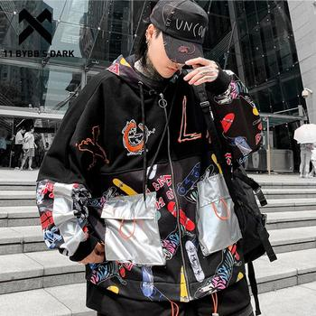 11 BYBB'S DARK Color Block Patchwork Pockets Men Thick Hooded Jacket 2019 Winter Harajuku Casual Cotton Coats Hip Hop Streetwear