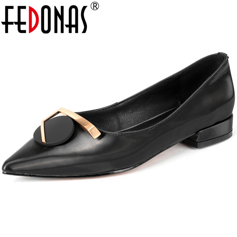 FEDONAS New Arrival Women Classic Design pointed Toe  Shoes Spring Summer Metal Decoration Basic Shoes Woman