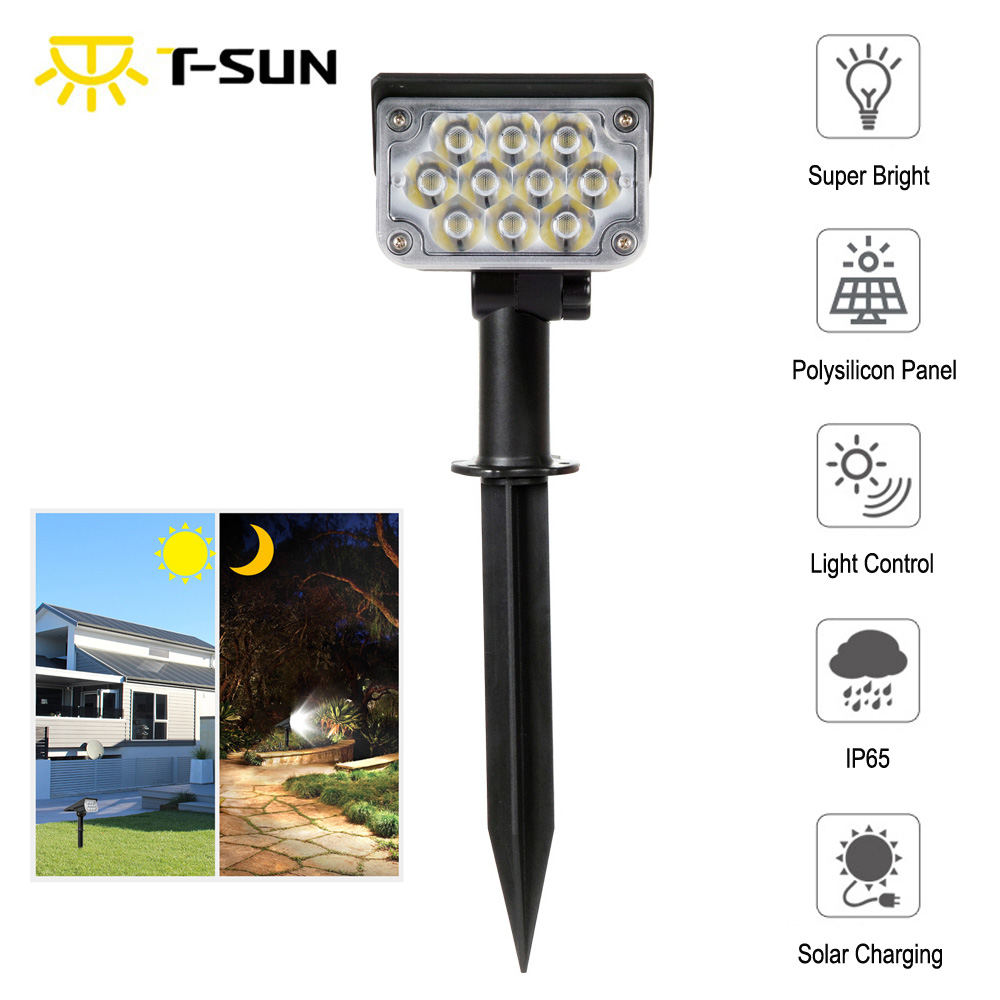 T-SUNRISE  20LED Solar Garden Light IP65 Waterproof Cold White Auto ON/OFF Outdoor Solar Lights Solar Landscape Spotlights Lamps