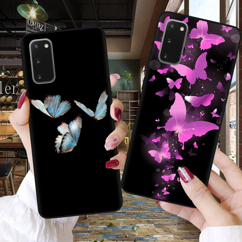 Black Silicone Back Cover For Samsung S8 S9 S10 S20 FE S21 Plus Ultra S10E Cartoon Blue Butterfly Phone Case For Samsung 21 Plus