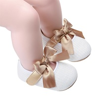 Newborn Princess Bowknot Shoes Infant Hollow Out Prewalker with Hook and Loop White Grey Pink Red Black
