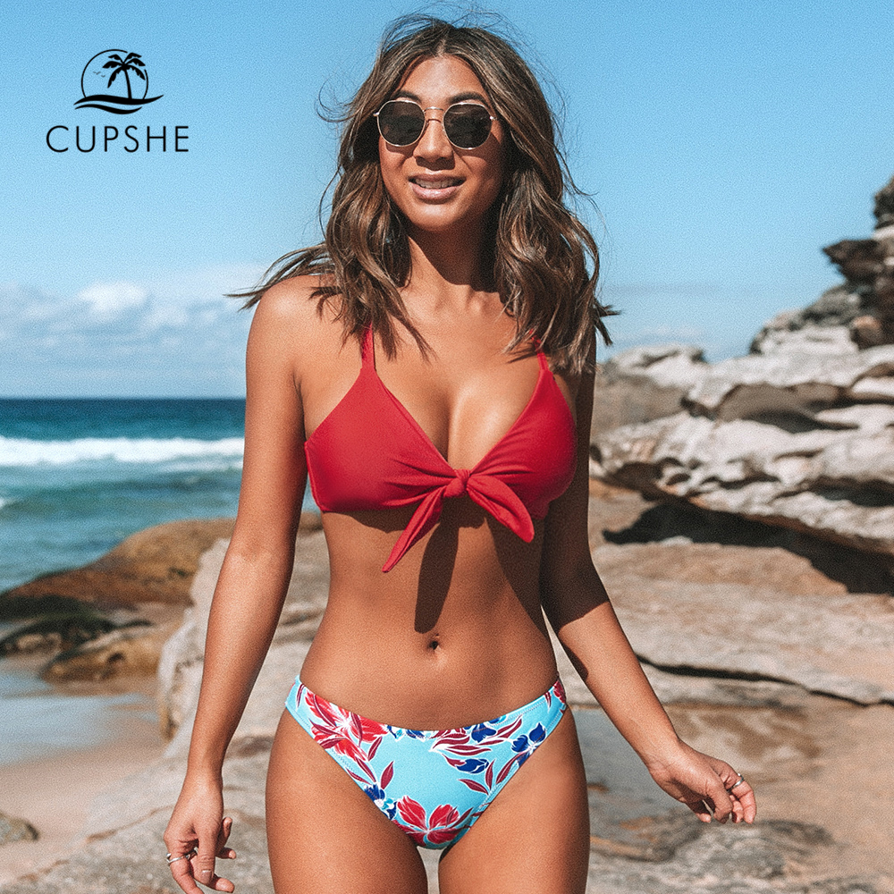 CUPSHE Red And Floral Print Low-Waisted Bikini Sets Sexy Tank Top Swimsuit Two Pieces Swimwear Women 2020 Beach Bathing Suit