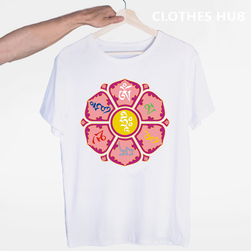 JN BUDDHISM <font><b>OM</b></font> MANI PADME HUM T-shirt O-Neck Short Sleeves Summer Casual Fashion Tibetan Buddhism Thangka Six Words Ring <font><b>Tshirt</b></font> image