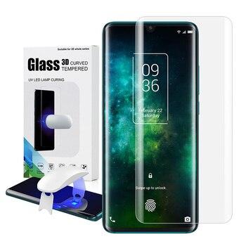 Перейти на Алиэкспресс и купить Защитная пленка для экрана с разблокировкой отпечатков пальцев на TCL 10 Pro, ультрафиолетовая стеклянная пленка, полная крышка для TCL 10Pro, закал...