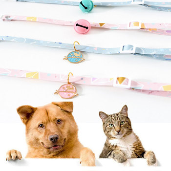 Simple Cute Safety Cat Collar Personalized Cute Kitten Puppy Collars with Bell Tag Nylon Print Pet Cats Necklace Accessories image
