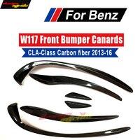 For Mercedes CLA W117 C117 X117 Sports Edition Front Bumper Canards With Spoiler 6pcs Carbon Fiber CLA180 CLA200 CLA250 2014 18