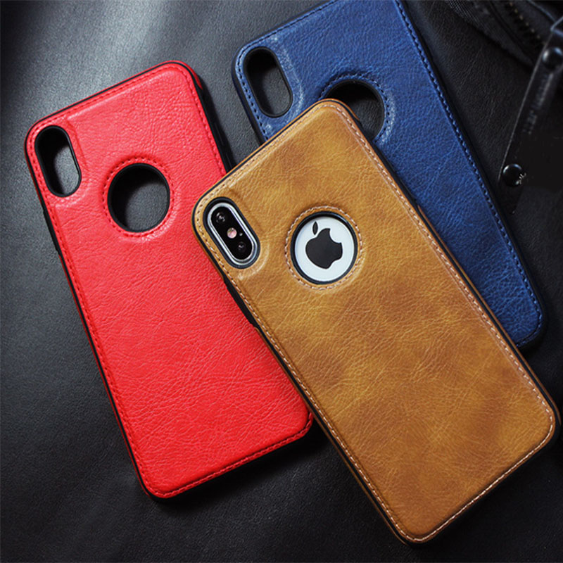 New Fashion <font><b>Leather</b></font> Stitching Phone Back <font><b>Case</b></font> For <font><b>iPhone</b></font> X XR XS MAX 6 6S 7 <font><b>8</b></font> Plus <font><b>Case</b></font> With <font><b>Logo</b></font> Hole Soft Anti-fall Back Cover image