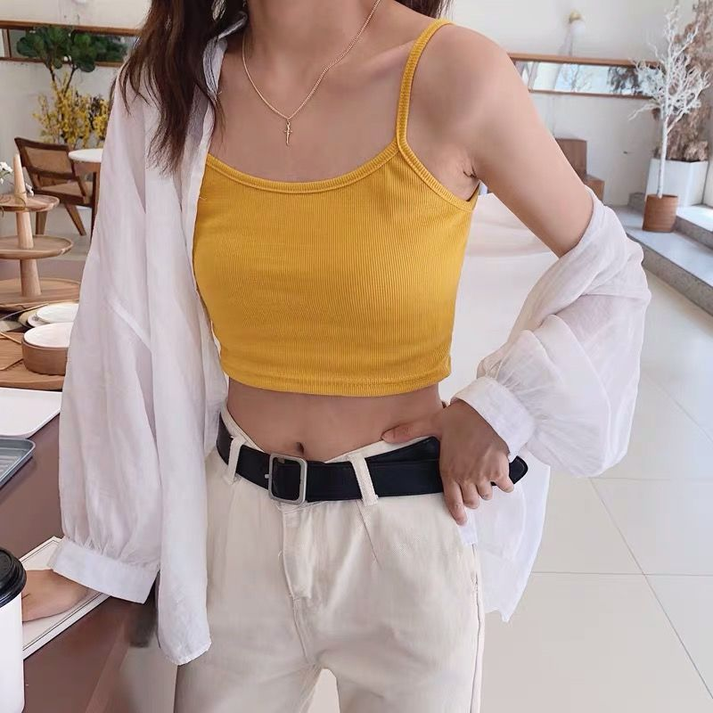 Hdc2503d0e6334de1a2555eb3b1e1072bW - Crop Top New Fashion Women Sexy Solid Summer Camis Female Casual Tank Tops Vest Sleeveless Cool Streetwear Club High Street
