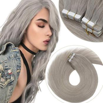 VeSunny Tape in Hair Extensions 100% Real Human Hair Adhesive Skin Weft Glue on Machine Made Remy Colorful Solid Grey Color 50g 14 color tape in hair extensions human hair machine remy pu skin weft color 14 24 inch straight tape hair extensions human hair