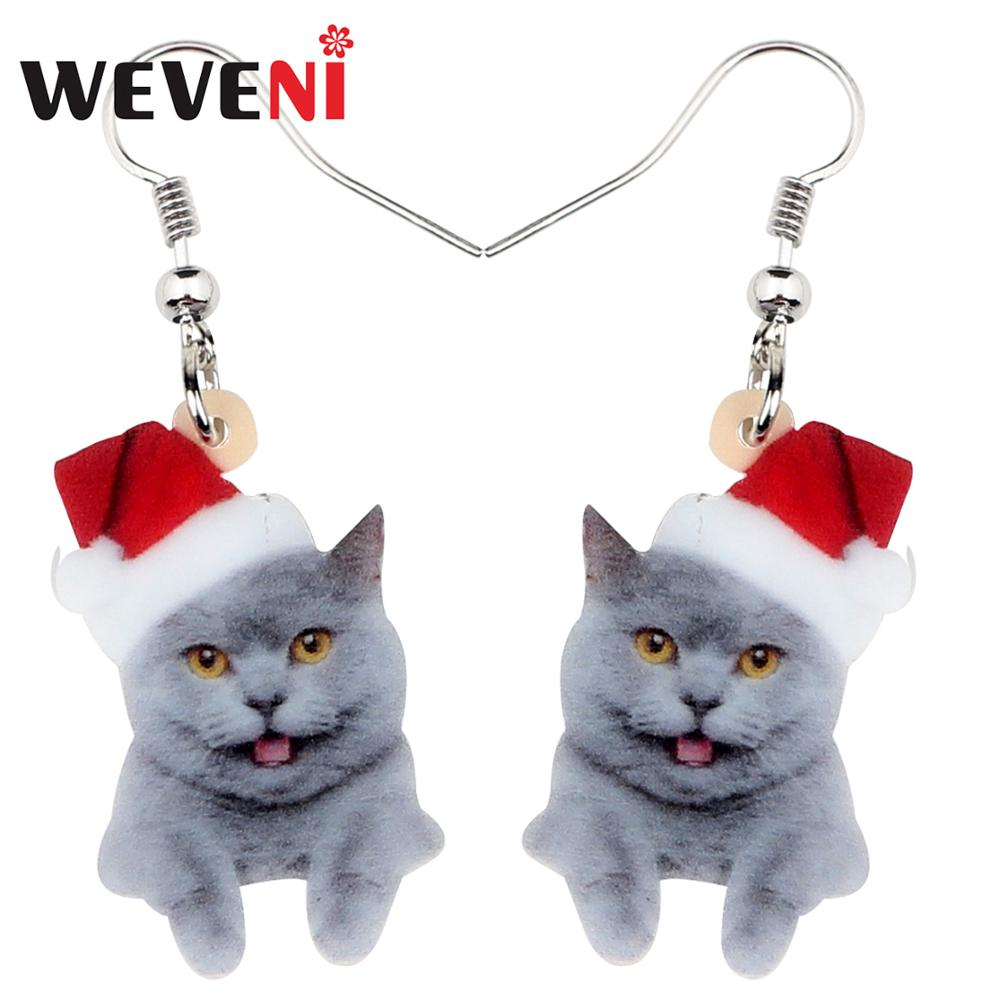 Cute Hollow Metal Smooth Cat Kitten Drop Earrings For Women Girls Christmas Gifts