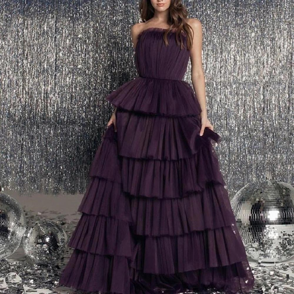 2020 Tiered Strapless Tulle Prom Dresses Long Sleeveless A Line Formal Evening Party Gowns Women Robe De Soiree