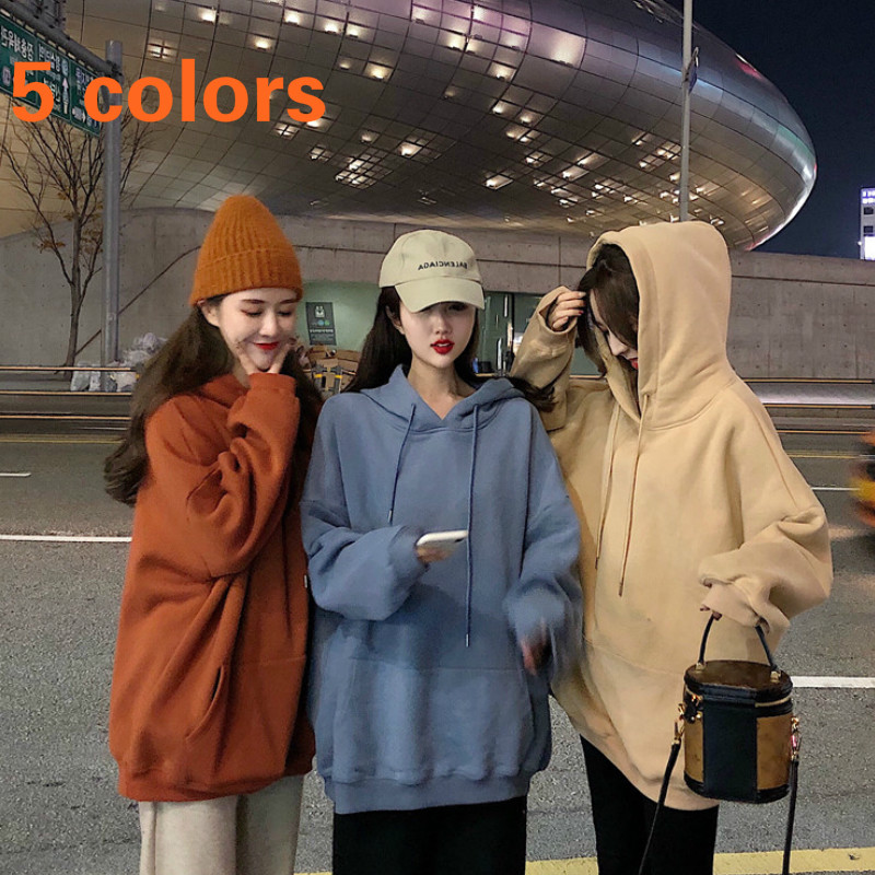 Hoodies Women Solid Simple Loose 2XL Sweet Big Pocket All-match Harajuku Korean Style Streetwear Womens Pullover Chic Casual New