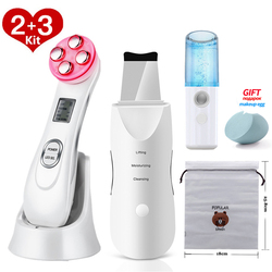 Ultrasonic Skin Scrubber Facial Cleansing Peeling Machine Pore Cleaner EMS LED Anti Aging Facial Massager EMS Mesotherapy