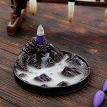 Керамический черный дракон держатель для благовоний буддийский