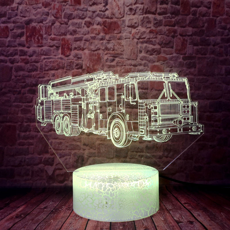 Lovely 3D Illusion Desk Nightlight LED 7 Colors Changing <font><b>Light</b></font> Vehicle FireMan Sam Fire engines Model Toys baby image
