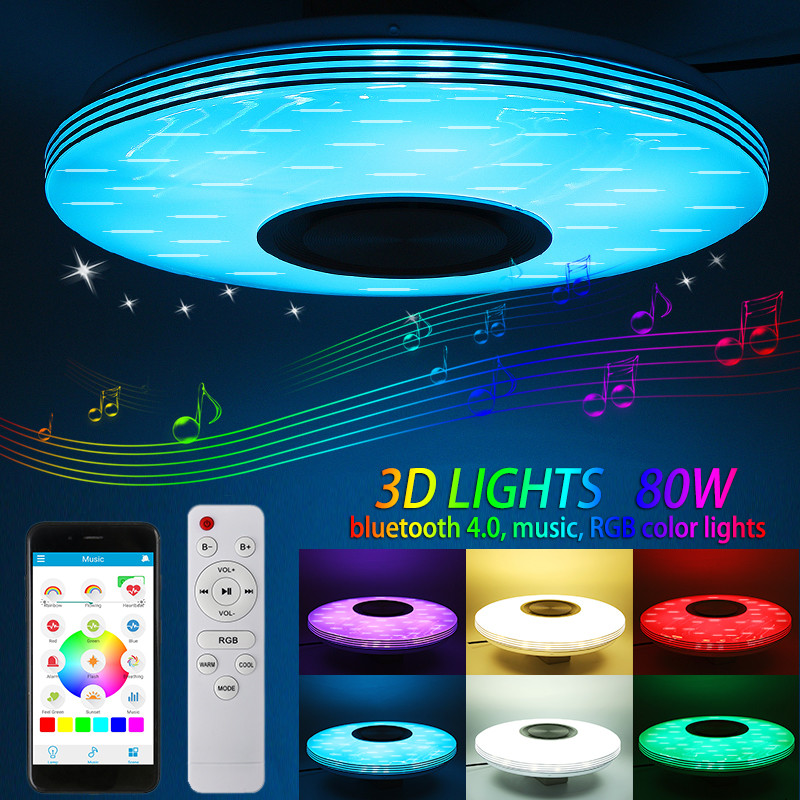 80W Music Ceiling Light Lamp RGB LED Flush Mount Round Music APP bluetooth Speaker Smart Ceiling Lamp With Remote Control