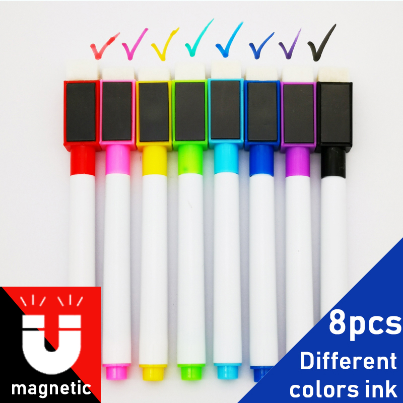 8Pcs/lot Colorful Black School Classroom Supplies Magnetic Whiteboard Pens Markers Dry Eraser Pages Children's Drawing Pen
