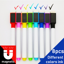 8Pcs/lot Colorful Black School Classroom Supplies Magnetic Whiteboard Pens Markers Dry Eraser Pages Childrens Drawing Pen