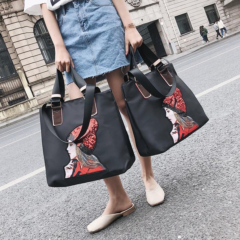 Sequin Girls overnight Travel Bag Large Capacity Travel Shoulder Bag Big Size Hand Luggage bag Waterproof Weekend Duffle Bag