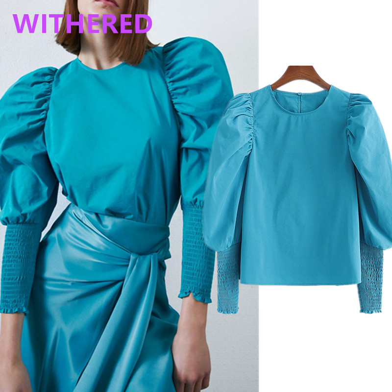 Withered England High Street Vintage Lantern Sleeve Blouse Women Blusas Mujer De Moda 2020 Kimono Shirt Womens Tops And Blouse