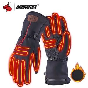 Image 1 - Masontex الشتاء قفازات للدراجات النارية التدفئة Guantes موتو قفازات USB تسخين كهربائي قفازات مع بطارية للتزلج ركوب M 2XL