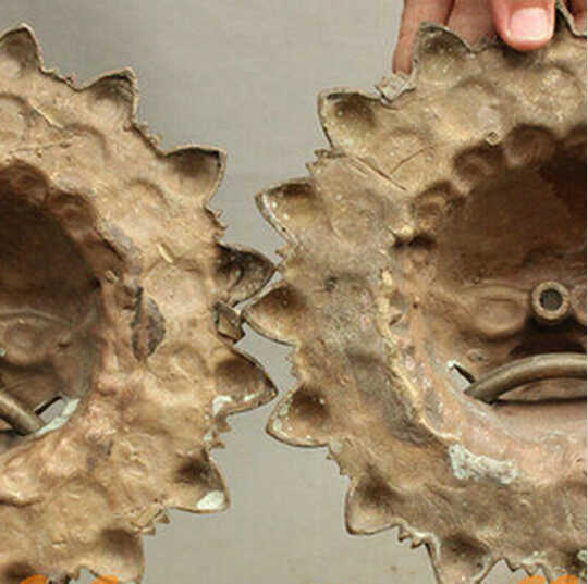"--- 425 +++ 9 ""FengShui จีน Bronze วัฒนธรรม GUARD หัวสิงโตรูปปั้นแหวนประตู Knocker คู่"