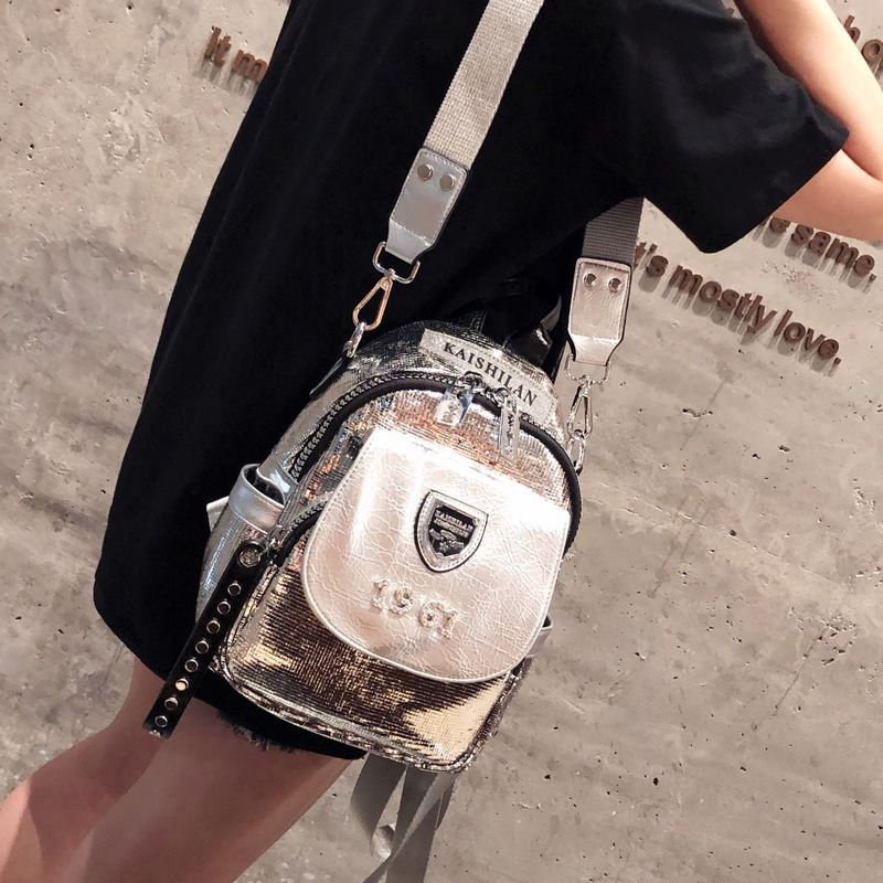Hot Sale Silver Backpack Real Leather Female Backpack Fashion Shining Travel Backpack Small Kute Designer Luxury Backpack