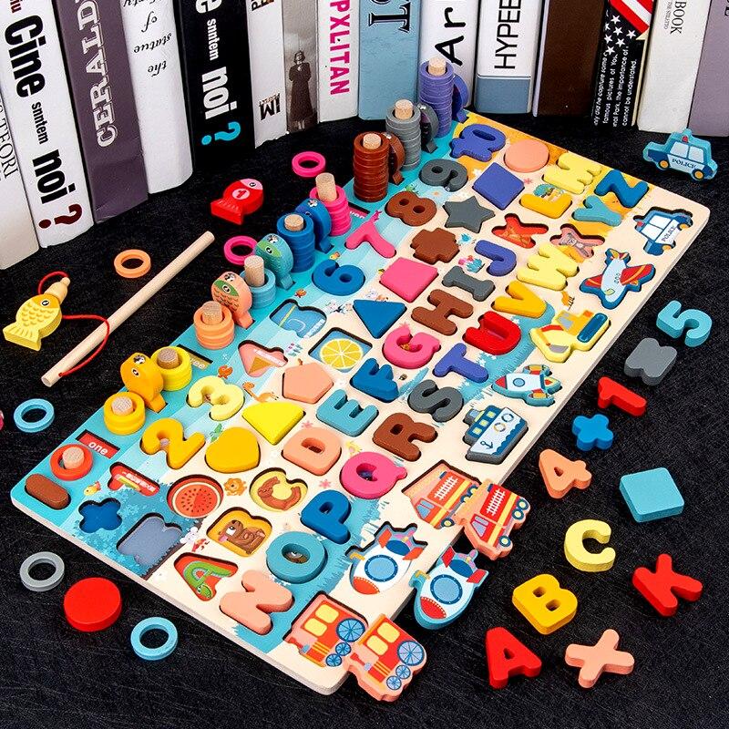 Монтессори Развивающие деревянные игрушки семь в одном номерной знак пазл Рыбалка для дошкольников Детские Математические Игрушки для ран...