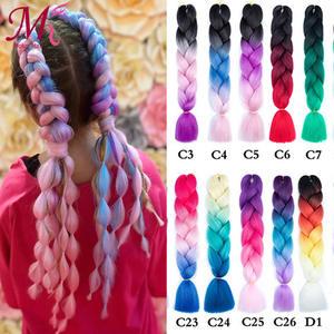 Hair-Extensions Braiding-Hair Crochet Rainbow Synthetic Kanekalon Blonde Ombre Jumbo