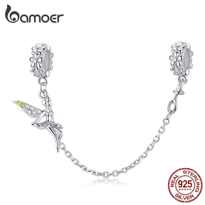 bamoer Elf Fairy Design Safety Chain Charm with Silicone Fit for Original Bracelet 925 Sterling Silver European Jewelry SCC1278
