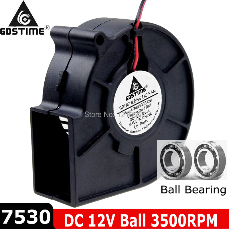 12V 2Pin 75mm x 30mm 75x75x30mm DC Brushless Computer Cooling Blower Fan 7530S