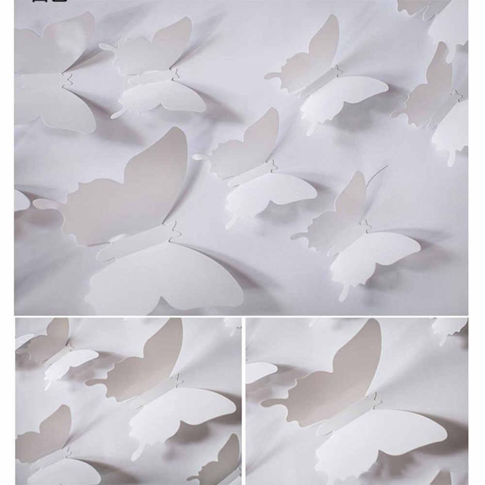 Mariposas calcomanía 12 unids/set DIY boda Fondo Infantil papel tapiz Universal 3 colores sala de estar hogar Decoración