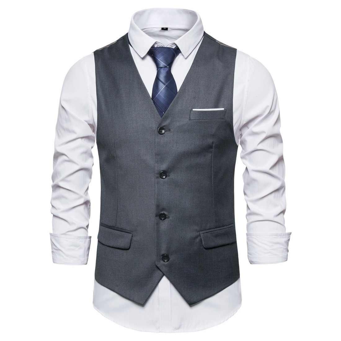 Spring 2020 Business Casual Men Slim Vest