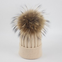 Real Fox fur pom poms winter hat for women girl 's wool hat knitted beanies cap child thick female cap warm for Mom and Kids cute girls hat ear cap autumn winter beanies hat for women pom poms hat candy colors knitted wool casual cap thick warm hat