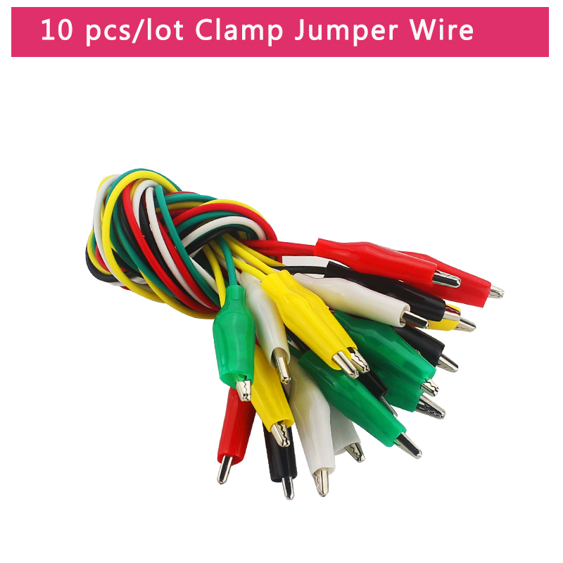 P1025 Crocodile Clips Cable Double-ende Alligator Jumper Test Leads Wire 10pcs