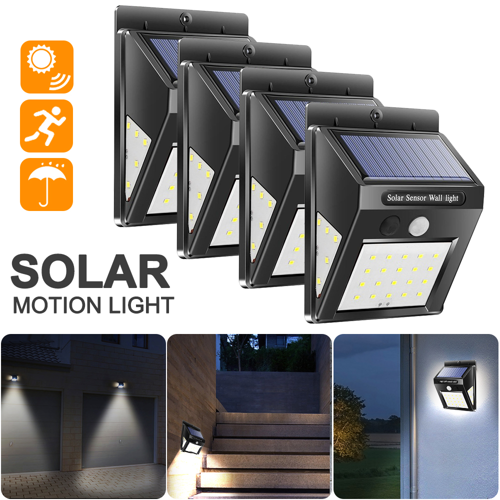 4PCS 30/40 LEDs Outdoor Solar Light PIR Motion Sensor Solar Wall Lamp Waterproof Energy Saving Emergency Garden Yard Lights