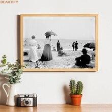 Palm Beach 1903s Vintage fotografía cartel victoriano vacaciones de verano paisaje de playa cuadro sobre lienzo para pared impresiones decoración del hogar