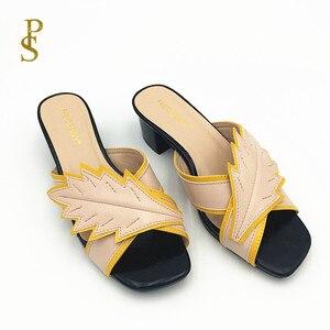 Image 2 - Pantoufles colorées assorties, chaussures à talons bas pour femmes, chaussures pour femmes