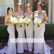 Wholesale One Shoulder Elegant Lace Long Pretty Mermaid Bridesmaid Dresses For Party Wedding