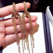 The new south Korean fashion silver earrings long diamond tassel earrings eardrop female E002162 temperament