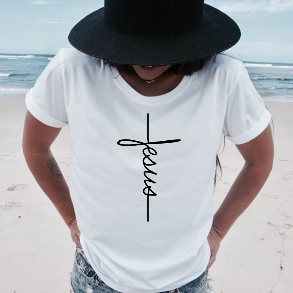 Faith Tshirt Cross Jesus Tees Tops Christian Shirt Women Fashion Tshirt Baptism Church Bride Squad Esthetic Tumblr Shirt