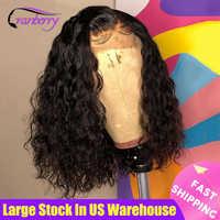 Peluca de cabello de Cranberry 4x4 para mujeres negras, postizo de encaje frontal con Bob corto de ondas al agua, pelo Remy brasileño prearrancado