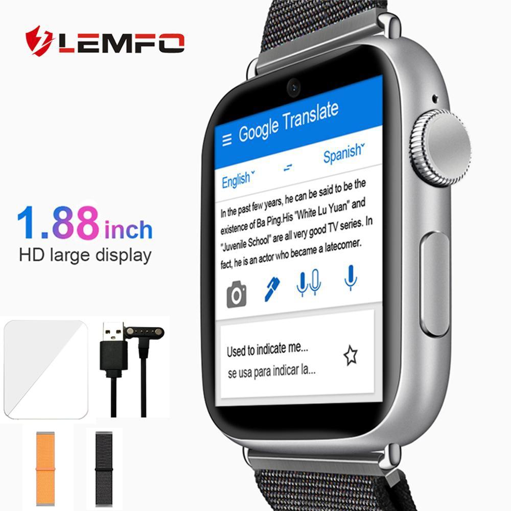 LEMFO LEM10 Smart Watch 4G 1 88 inch Big Screen OS Android 7 1 3G RAM 32G ROM LTE 4G Sim Camera GPS WIFI Heart Rate Men Women