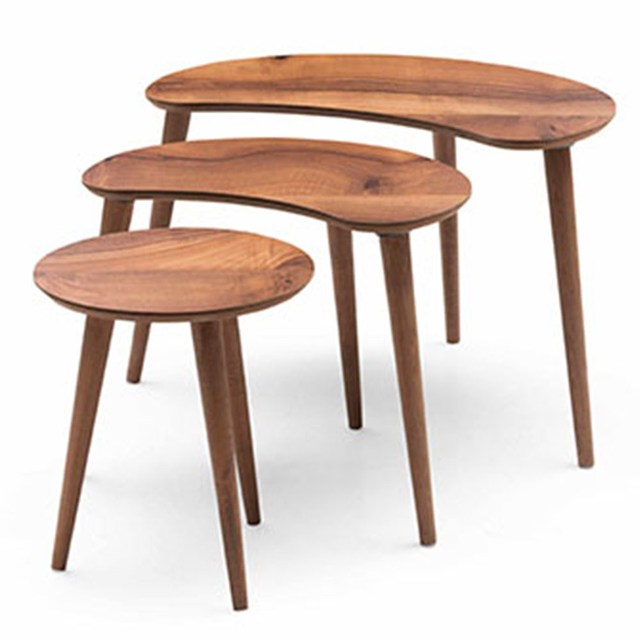 3 PCs Crescent Shaped Coffee Table  1