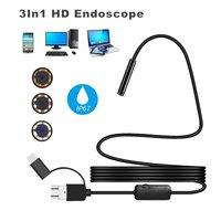 3 в 1 эндоскопе Камера 2/3. 5/5/10 м 1200P HD Водонепроницаемый IP68 USB портативная камера видеонаблюдения для телефона на Android