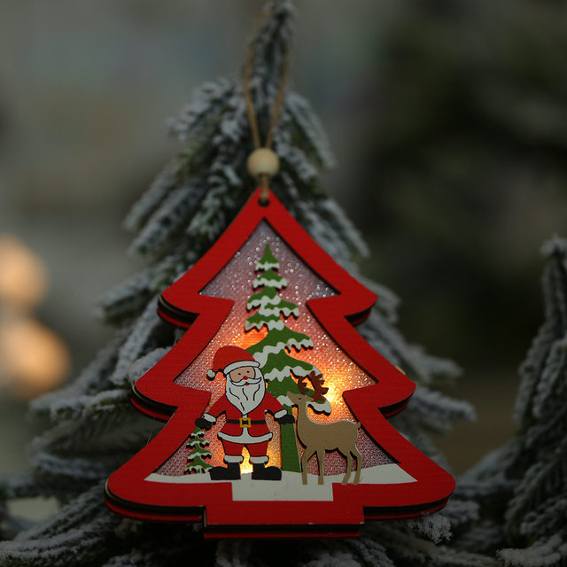 Creative Led Light Christmas Tree Hanging Pendant Star Car Heart Wooden Ornament Decoration Shine Romantic New Year Ornaments 17