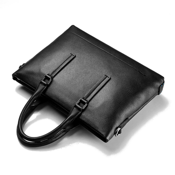Large-capacity briefcase men handsome leather casual retro handbags business office travel solid color computer bag