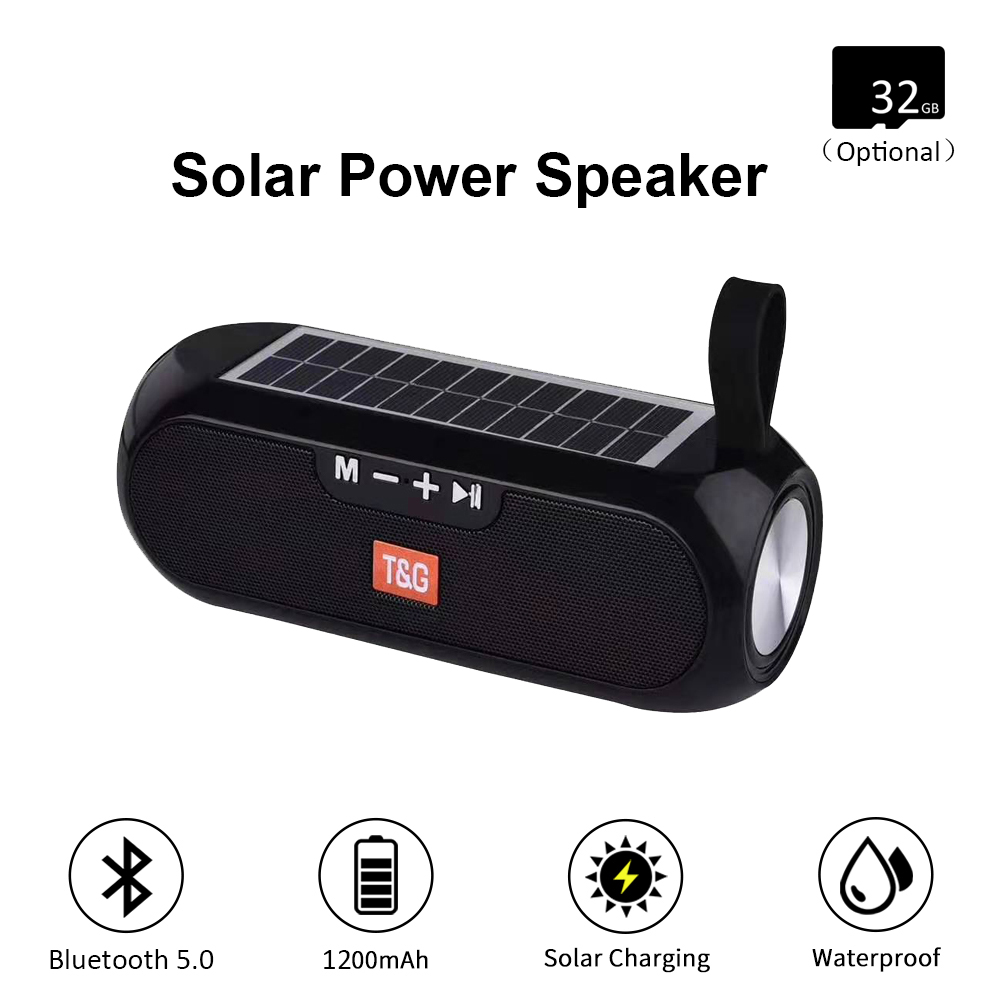 Solar Outdoor Bluetooth Speaker Portable With FM Radio 10W TWS 5.0 Wireless Column Music Box Boombox MP3 TF USB AUX Loudspeaker