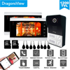 Dragonsview 7 Cal bezprzewodowy domofon wideo 2 apartament dzwonek do drzwi z 2 przycisk wielu apartament wideo domofon System telefoniczny Wifi