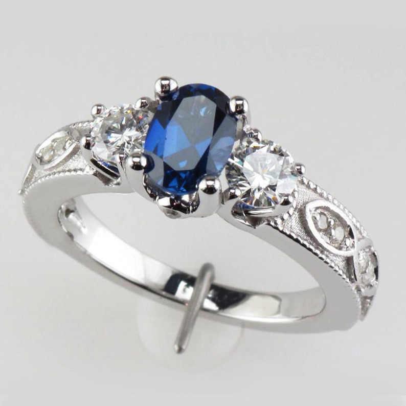 Huitan Tiefe Blau Stein Großhandel Frauen Finger Ringe Alte Muster Mysterious Charme Frauen Schmuck Finger Ringe Mit Größe 6- 10